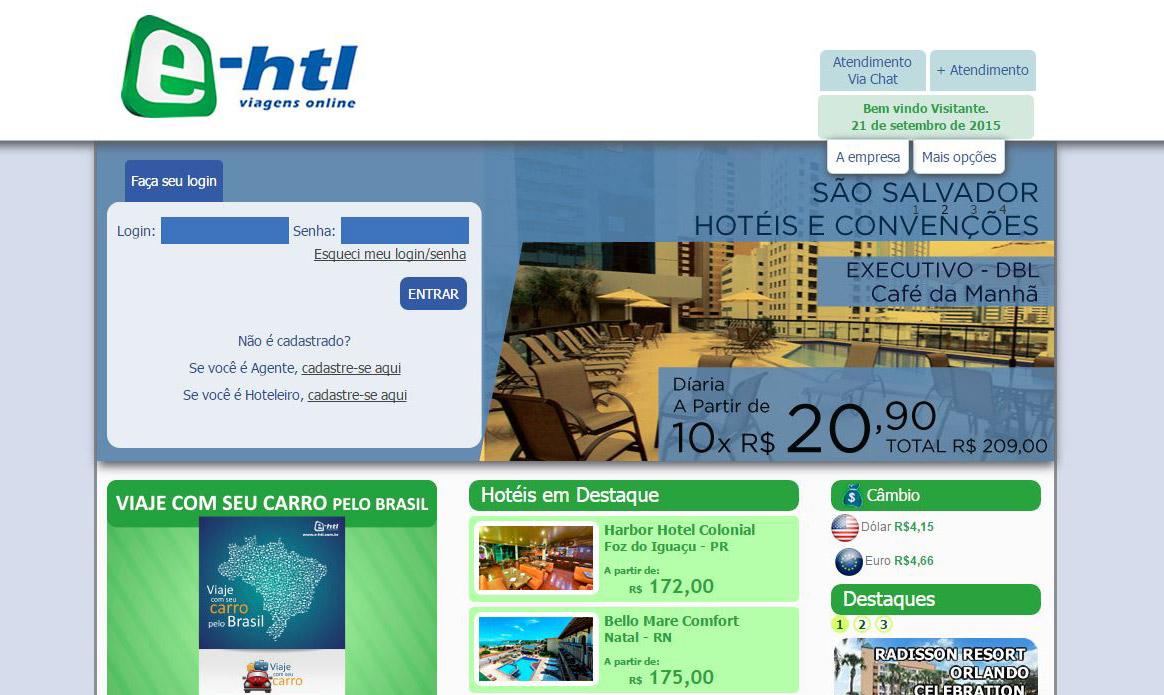 Página inicial do atual portal da E-HTL (Reprodução)